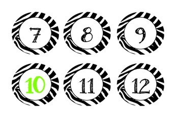 Zebra Numbers 1-180 Counting by 5's and 10's PLUS BLANKS