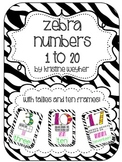 Zebra Numbers Posters 1 to 20 Tallies Ten Frames
