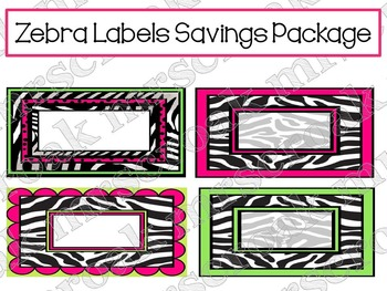 Label Savings Package: Zebra with hot pink & lime green, 10 per page