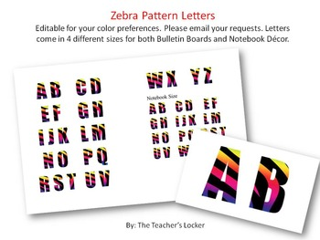 Zebra Pattern Letters (4 Different Sizes!)