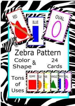 Zebra Pattern Shapes & Color Cards