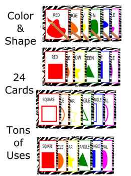 Zebra Pattern Shapes & Color Cards