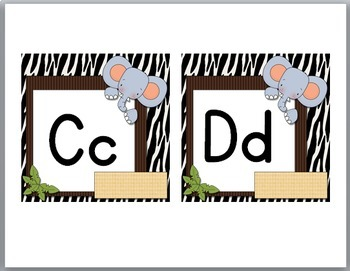 Jungle Theme Classroom Decor Word Wall Headers ~ Primary Font
