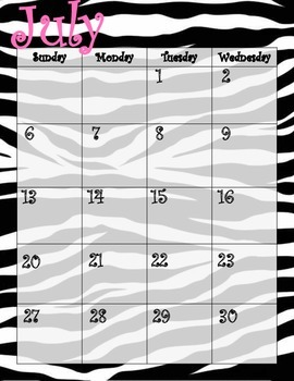 Zebra & Pink Calendar July 2014 through July 2015