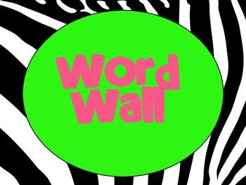 Zebra Pink & Green Word Wall Alphabet