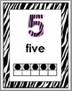 Zebra Theme with Pink Numbers 1-10 Number Posters with Ten Frames