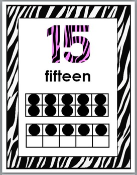 Zebra Theme Classroom Decor with Pink - Numbers 11-20 Posters with Ten Frames