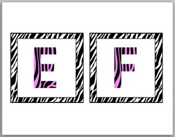 Zebra Theme Classroom Decor with Pink Word Wall Headers