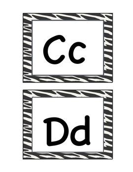 Zebra Word Wall Letters