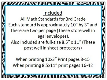Zebra Print 3rd Grade Common Core Math Standards