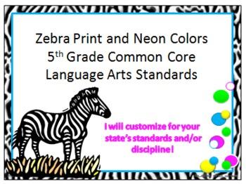 Zebra Print 5th Grade Common Core ELA Standards
