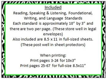 Zebra Print 5th Grade Common Core ELA Standards With Neon Yellow & Green