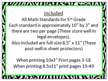 Zebra Print 5th Grade Common Core Math Standards With Hot Pink_Lime Trim