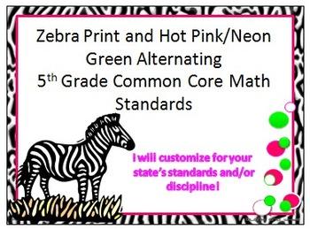 Zebra Print 5th Grade Common Core Math Standards With Hot