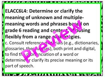 Zebra Print 6th Grade Common Core ELA Standards 4 Neon Colors
