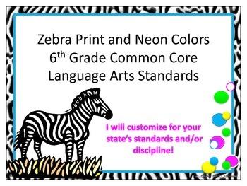 Zebra Print 6th Grade Common Core ELA Standards Neon Pink and Lime Trim
