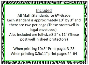 Zebra Print 6th Grade Common Core Math Standards w/ Lime Green and Hot Pink Trim