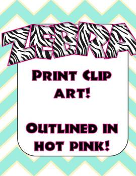 Zebra Print Alphabet Letters (Hot Pink Outline)