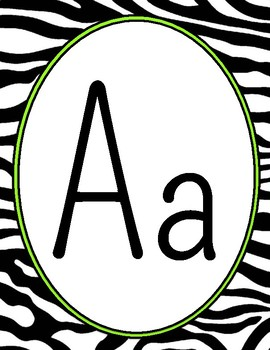 Zebra Print Alphabet Line: Hot Pink & Lime Green