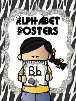 Zebra Print Alphabet Poster Cards