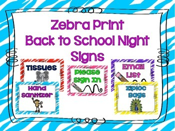 Zebra Print Back to School Night Posters