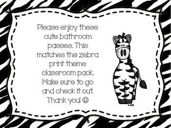 Zebra Print Bathroom Passes