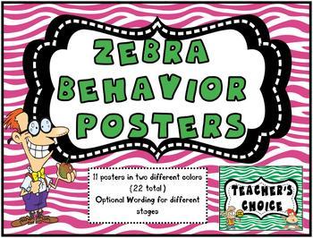 Zebra Print Behavior Tracking Posters