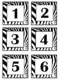 Zebra Print Bin #'s Calendar, Months & Days, Clock Minutes, Name Cards
