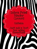 Zebra Print Binder Covers