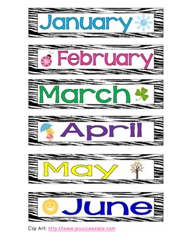 Zebra Print Birthday Months