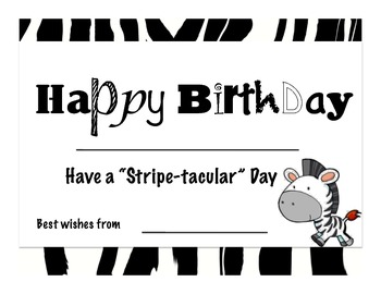 Zebra Print Birthday cupcakes, labels, certificates and bookmarks!!!!!