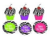 Zebra Print Birthday cupcakes, labels, certificates and bo