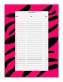 Zebra Print Book Check Out Form