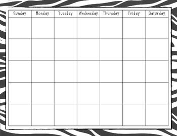 Zebra Print Calendar Blank - Large