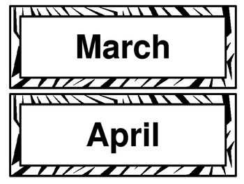 Zebra Print Calendar Kit