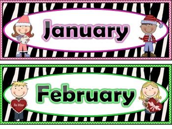 Zebra Print Calendar Months and Days of the Week
