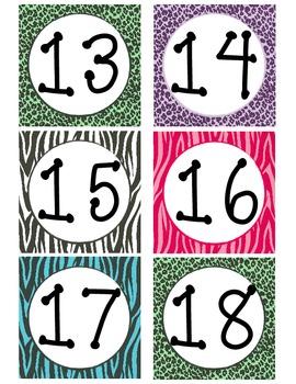 Zebra Print Calendar Numbers