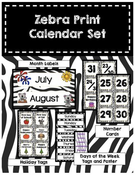 Classroom Decor Zebra Print Calendar Set