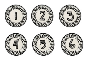 Zebra Print Circles with numbers 1-50