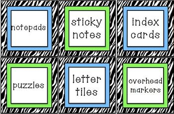 Zebra Print Classroom Labels {With a Hint of Blue & Lime Green!}