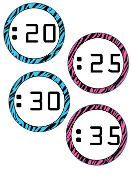 * Animal Print Zebra Print Clock Labels