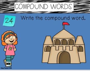 Compound Words DIGITAL and PRINTABLE Task Card BUNDLE