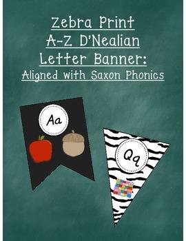 Zebra Print D'Nealian Letters A-Z Pennant Banner