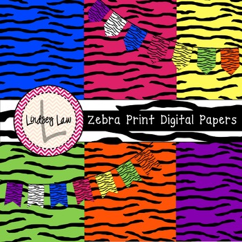 Zebra Print Digital Papers and Banners
