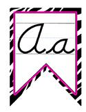 Zebra Print Dnealian Cursive Alphabet Banner