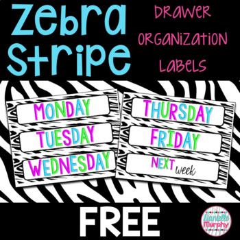 Zebra Print Decor Drawer Organization Labels FREEBIE