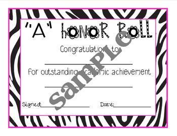 Zebra Print Editable Honor Roll Certificate