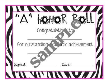 Zebra Print Editable Honor Roll Certificate