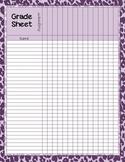 Zebra Print Grade Sheet Series