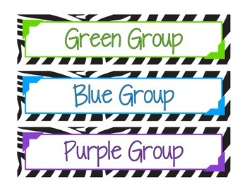 Zebra Print Guided Reading Group Drawer Labels